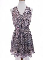 Rebecca Taylor 100% Silk Fit and Flare Dress ikat Floral Print Sz 6 Small