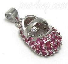 Sterling Silver JULY RUBY CZ BIRTHSTONE BOOTIE BABY SHOE CHARM PENDANT