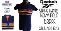 Reebok Girls Stripe Panel Navy Polo Dress Age 12/13 New With Tags