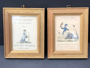 Lot of 2 Antique The Paths of Learning  English Grammar Illustrated small prints
