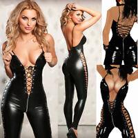 Catsuit Tuta Mistress Lucido Latex Scollata Dominatrice Clubwear Aperto Laterale