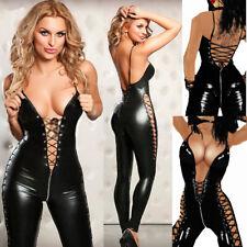 Completo Tuta Mistress Simil Latex Scollata Dominatrice Clubwear Aperto Laterale