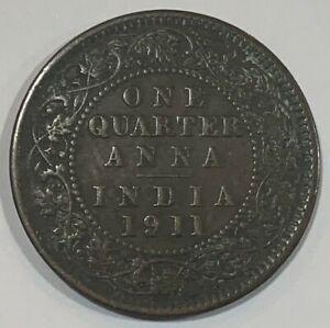 1911 British India Quarter 1/4 Anna George V Coin