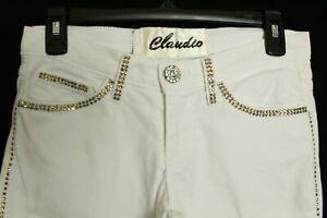 Claudio Milano Women's Jeans White Swarovski Crystal Size 3