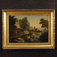 Antico quadro paesaggio personaggi dipinto olio su tela cornice 700 XVIII secolo