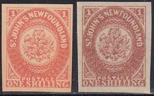 Newfoundland 1857 1sh pair Oneglia Forgery, Counterfeit, Fake.