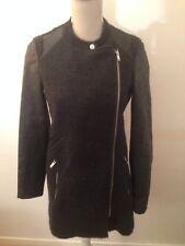 VERO MODA Manteau femme taille 34/XS noir bi matiere laine et cuir