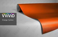 "2.5ft x 60"" 3D Orange carbon fiber vinyl car wrap sheet roll film sticker decal"