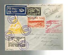1935 Duinbergen Belgium Rocket Mail Cover w/ Cinderella Imperfs Roberti Signed
