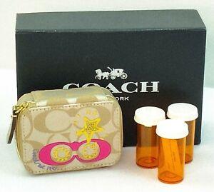 New Coach Signature Appliqué Khaki/Pink/Gold Triple Pill Box Travel Case F61032