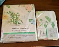 VTG NEW HAMPTON MUSLIN PERMA PREST FULL SIZE FLAT SHEET PILLOWCASES FLOWERS