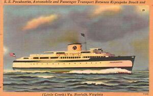 Vintage Postcard 1951 SS Pocahontas Automobile & Transport Norfolk Virginia VA