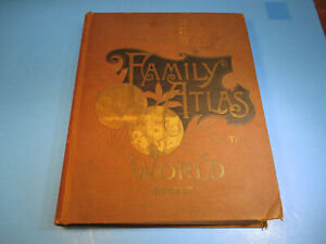 1892 The People's Family Atlas Of The World City Country Map Leather Illustrated