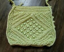 Vintage Walborg Purse Large Bag light lime green wood beads crochet straw hippie