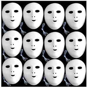 12 Face Masks White Flock Fancy Dress to Paint and Decorate