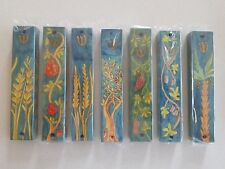 """Set of 7 Mezuzah Wooden Case 5"""" SEVEN SPICIES From Israel by Kosher Hand Painted"""