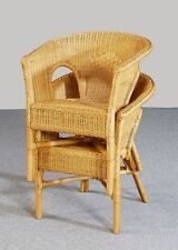 rotin Fauteuil NEUF miel chaise fauteuil en Rotin Empilable Deux set