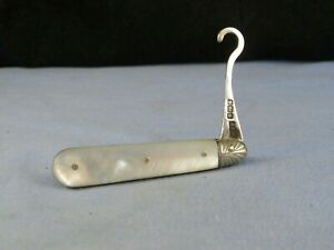 STERLING SILVER & MOTHER OF PEARL ANTIQUE EDWARDIAN TRAVELLING BUTTON HOOK 1902