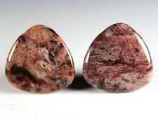 Two (2) Red Bamboo Agate 30mm Triangle Drop Drill Beads aka Red Giraffe (267)