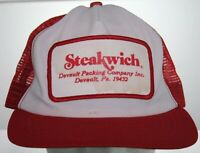 Vintage STEAKWICH Patch Trucker Hat Devault PA Packing Co Red White Snapback Cap