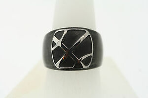 Shaquille O'Neal 16mm Black Stainless Steel Silver Basketball Accent Ring