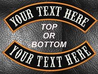 """CUSTOM EMBROIDERED 13"""" MC ROCKER PATCHES TOP OR BOTTOM MOTORCYCLE CUT BIKER USA"""