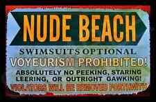 NUDE BEACH MADE IN USA METAL SIGN 8X12 LUAU TIKI BAR HOT TUB POOL WELCOME FUNNY