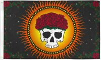 Skull with Flower Crown Flag 3x5ft Polyester - Grateful Dead Flag - Dead Head