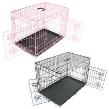 More details for dog cage puppy pet metal training crate carrier black pink x-small small medium