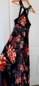 City Chic Floral Satin Pleated High Neck Beaded Formal Evening Dress Size XS 14