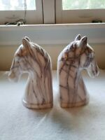 Brand New Pair Of Marble Looking Horsehead Bookends