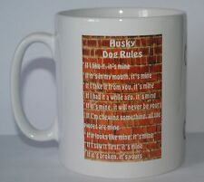 HUSKY RULES Novelty Dog Owners Printed Tea/Coffee Drink Mug - Ideal Gift/Present