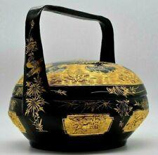 Antique Chinese Large Black Lacquer Gold Wedding Basket C1900 Auspicious Symbols