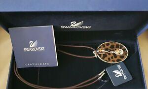 Genuine Swarovski necklace Leopard Print Faux Fur Amber Crystal's New in box tag