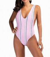 LaceShe Womens Swimwear Rose Pink Size Small S Striped Plunge One Piece $44 731