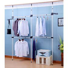 Heavy Duty 3 Poles 4 Bars Movable Garment Rack Free Coat Hanger Clothes Wardrobe