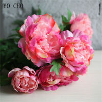 Artificial Silk Peony Bunch Flower Bridal Bridesmaid Wedding Bouquet Home Decor