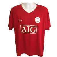 Nike Mens Soccer Jersey Man Manchester United Red Medium Dri-Fit AIG Free Ship