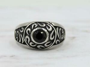 Stainless Steel Blue Spinel Swirl Men's Wide Band Ring Sz 10.25