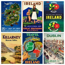 IRELAND VINTAGE IRISH Mini Retro Posters Art Deco Bar Cafe Decor A5 A4 & A3