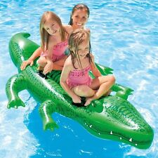 Large Green Alligator Ride On Float Swimming Pool Kid Inflatable Toy 80x45in New
