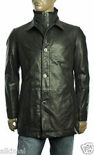 $895 New Mens Hugo Boss Acken Black Lambskin Leather Jacket Car Coat 44 R 54