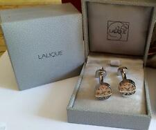 LALIQUE PAIR ROUND BUTTON CUFFLINKS FOUR SWALLOWS  HIRONDELLE PALLADIUM - LOVELY