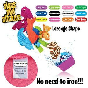Stick On Name Labels for Clothes Clothing Stickers - NONE IRON - Lozenge Shaped