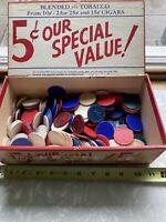 vintage poker chips And Vintage Cigar Box