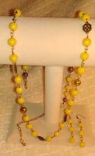 Vintage 1980s Yellow Glass Bead/Goldtone Filigree Gold Ball Necklace/Earring Set