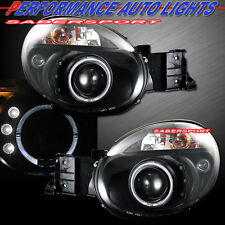 Pair Black Projector Headlights w/ Halo rims for 2002-2003 Subaru Impreza WRX