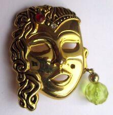superbe broche bijou vintage couleur or masque visage femme orientale  2281