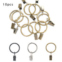 Metal Curtain Pole Rod Voile Net Rings Hooks With Clips Hanging 30 MM X 10 New