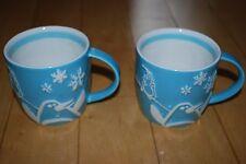 Starbucks Holiday 2007 Penguin Christmas Blue Coffee Mugs-Set/2 Snowflake White